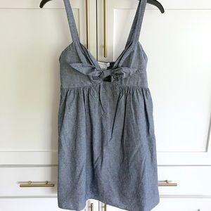 Anthro cooperative chambray cutout tie front dress